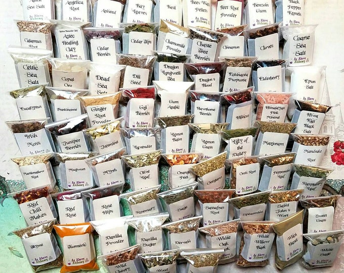 Featured listing image: Choose Your Own Herbs, Resins, and Gums - Incense Kit - Wholesale - Over 100 Different Herbs - 2x3 inch bags - You Choose Number- Customized