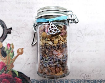 Mermaid Jar - Peace, Acceptance of Change, Mer Folk  Spell Jar - Herbal Mix with Aquamarine - Handmade - Witchcraft and Spiritualist