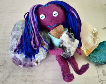 Saharah the Spellcaster - Herb-stuffed Poppet - Manifestation Voodoo Doll with Taglock Pouch - Citrine and Labradorite - Purple and Blue