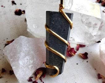 Hematite Point Pendant - Reiki Healing Crystal Jewelry - Gemstone Point - Polished - Spiritual & Meditation Jewelry