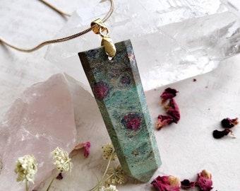 Ruby in Fuchsite Necklace - Reiki Healing Crystal Jewelry - Gemstone Point - Polished - Spiritual & Meditation Jewelry