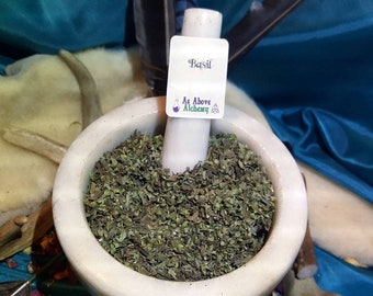 Homegrown Basil Leaves - Ocimum Basilicum - Magickal Herb - Love, Wealth, Protection - Incense Supplies - Herbology - DIY Incense