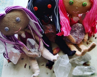 Custom Poppet - Herb-stuffed Spirit Doll - Voodoo Doll with Taglock Pouch and Crystals - Customized Metaphysical Properties