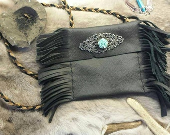 Native American Medicine Bag/Tobacco Bag - Black Leather - Necklace - Handmade - Wiccan Tarot Bag