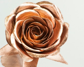 Copper Rose half bloom metal roses forever flowers blossom anniversary engagement wedding 7th 9th seventh ninth gift decoration wife husband