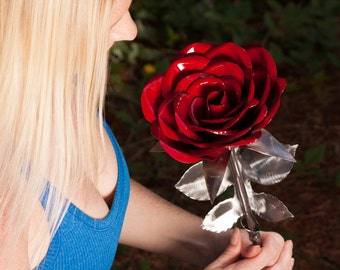 Giant Metal Rose Flower Perfect Handcrafted Steel Rose 11th 6th Anniversary gift 6 4 11 proposal forever love special unique gift for her