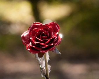 A Red Steel Rose  a Beautiful Decoration and A Perfect Gift for Yourself or One You Love - Metal Art Forever Flower