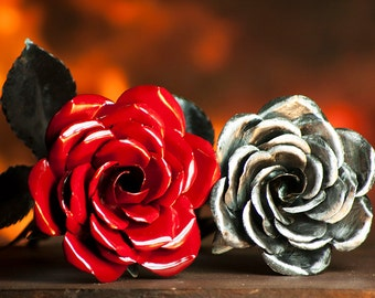 Gift for 11th Anniversary - Perfect Handmade Metal Rose Art - Eleventh anniversary Forever Flower - Color - Red