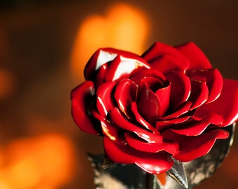 Red Steel Rose A Perfect Gift for Yourself or One You Love - Metal Art Forever Flower