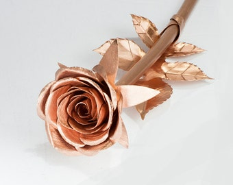 Half bloom metal roses Copper Rose art gift home wedding bridal jewelry accessory accent living house room table bedroom bride art sculpture