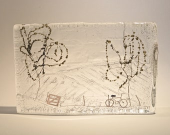 Countryside Cycle : cast glass and wire artwork