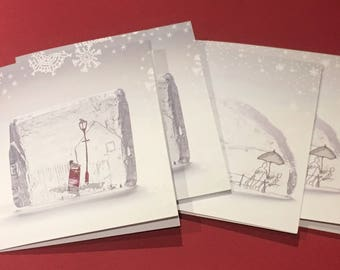 Christmas cards - pack of 4 (2 each of 2 designs