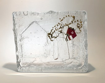The treehouse : cast glass and wire artwork