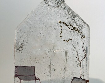 Home sweet home : cast glass and wire artwork. REDUCED PRICE!