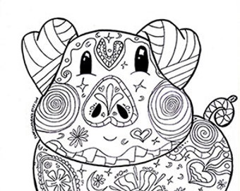 Pig Coloring Page Etsy