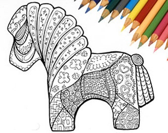 Horse Coloring Page Printable Zentangle Pony Book Animal Color Instant Download
