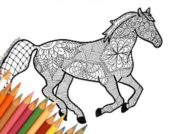Horse Coloring Page To Print Downloads Printable A4 Jpg Zentangle Animal Lovers For Adult Easy