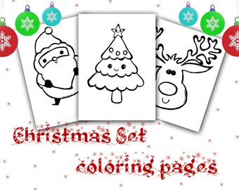 Christmas Tree Kawaii Cute Drawing Coloring For Kids Download Etsy