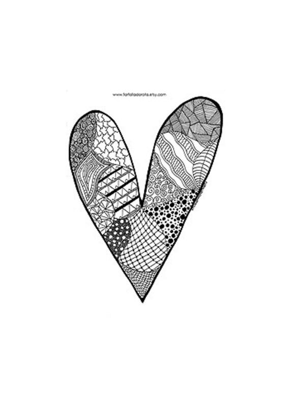 Corazón de San Valentín para colorear imprimir descargar | Etsy