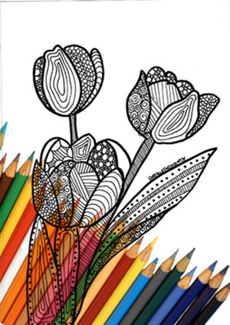Kleurplaten Bloemen Tulpen.Tulpen Bloem Kleurplaat Pagina Afdrukbare Kleuren Zentangle Etsy