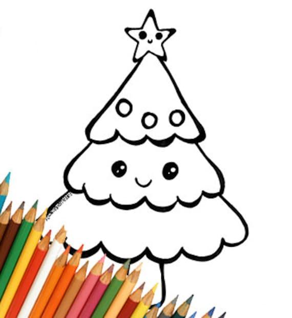 Sapin De Noël De Cute Kawaii Coloriage Enfants Télécharger Modèle Pour Imprimer La Page De Coloriage Simple Facile De Dernière Minute