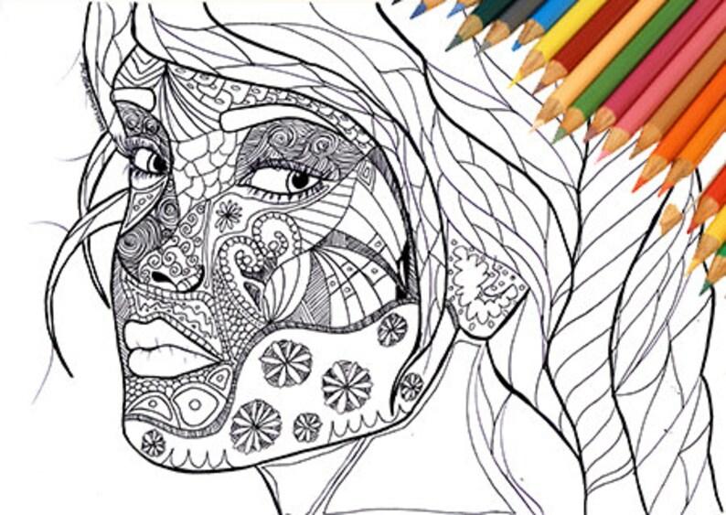 Viso di donna da colorare stampabile ragazza astratto for Disegno pagliaccio da colorare