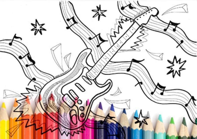 Chitarra Da Colorare Stampabile Zentangle Musica Da Colorare Etsy