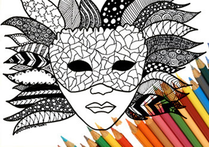 Kleurplaten Carnaval A4.Venetie Masker Carnaval Mardi Gras Afdrukbare Kleurplaat Etsy