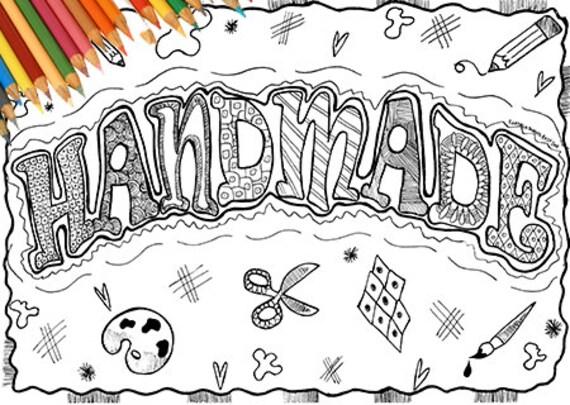 Disegno Handmade Parola Da Colorare Stampabile Adulti Negozio Etsy