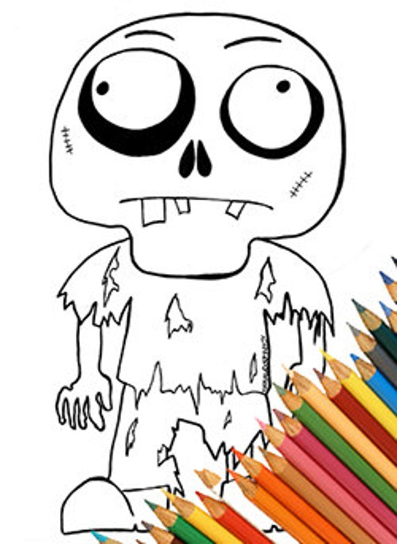Zombies Drole De Coloriage Page Coloriage Telecharger Amateurs Etsy