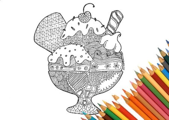 Pagine Da Colorare Per Adulti Libro Modello Astratto: Coppa Gelato Da Colorare Stampabile Doodle Astratto Goloso