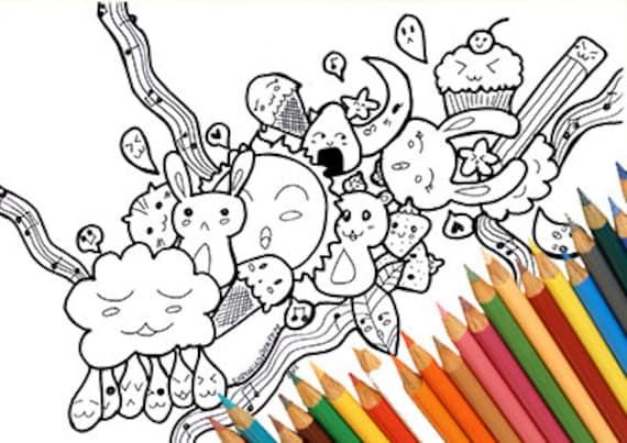 Kawaii Doodle Da Colorare Stampabile Carino Tenero Manga Etsy