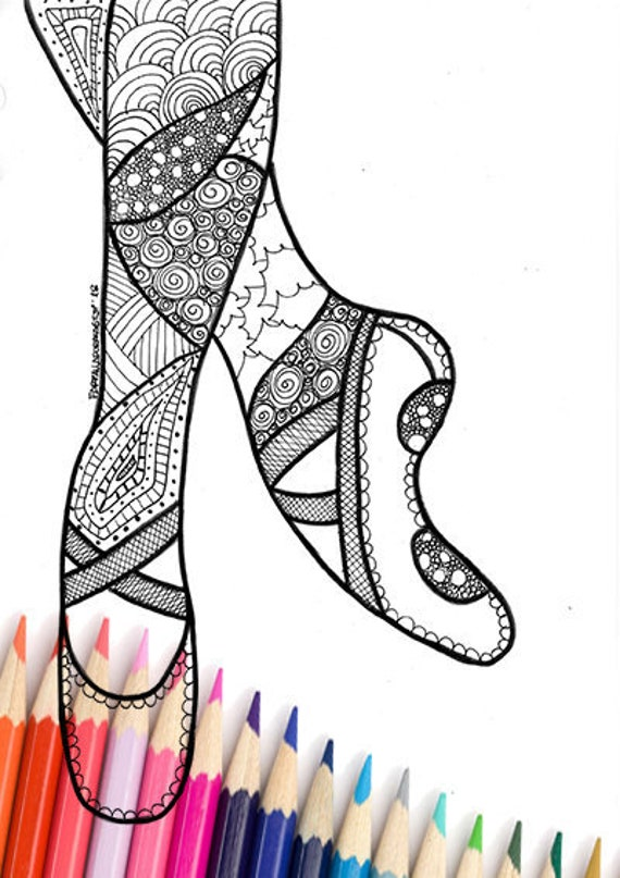 Coloriage Danse Adulte.Adulte Coloriage Page Sport Danse Chaussures Danseuse Fille Gymnastique Athlete Zentangle Gym Parti Zen Meditation