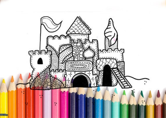 Zandkasteel Kleurplaten Printen.Zandkasteel Kleurplaat Afdrukbare A4 Pagina Voor Het Etsy