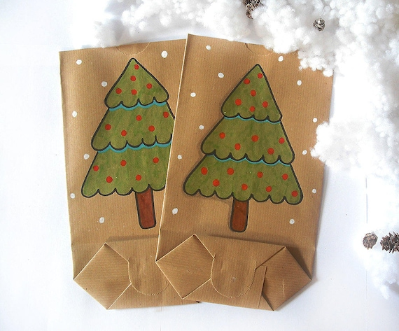 Christmas Gift Bag Hand Drawn Christmas Tree Card Brown Paper Etsy
