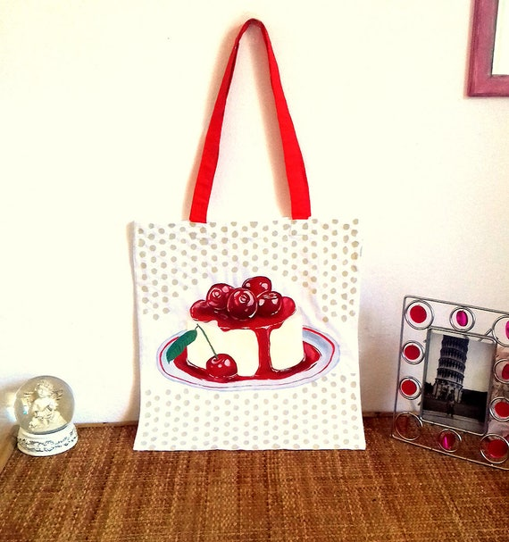 13d88fc2a8d0 Pudding with cherries hand-painted shoulder bag tote bag