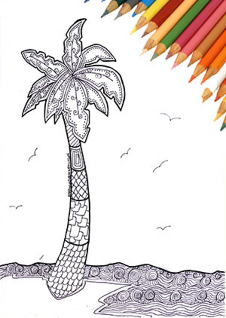 Palma Spiaggia Mare Estate Pagina Da Colorare Adulti Bambini Etsy