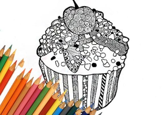 Cupcake Malvorlagen Cupcake Färbung Seite Druckbare Cupcake Etsy