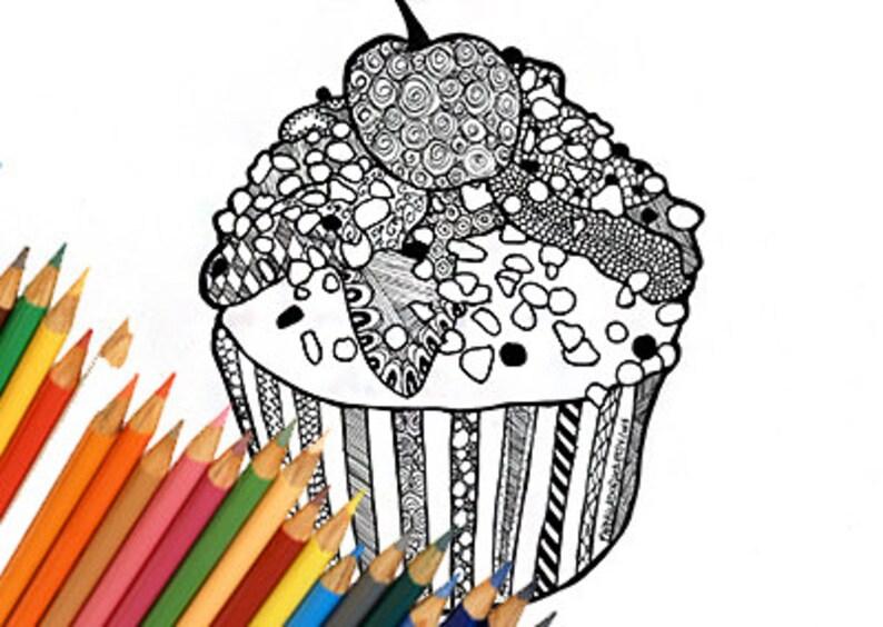 Cupcake Pagina Da Colorare Cupcake Disegno Da Colorare Etsy