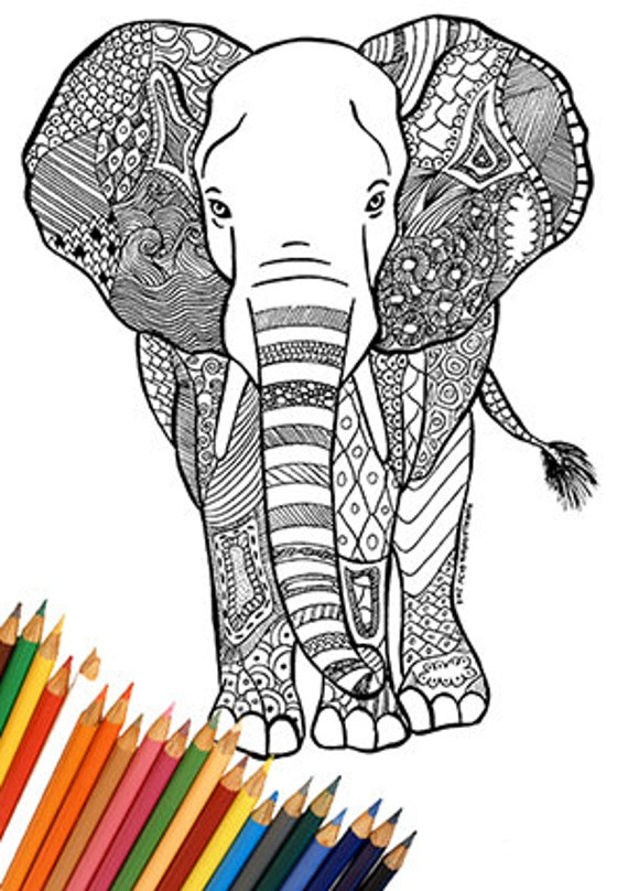 Elefante para imprimir para colorear África india animal | Etsy