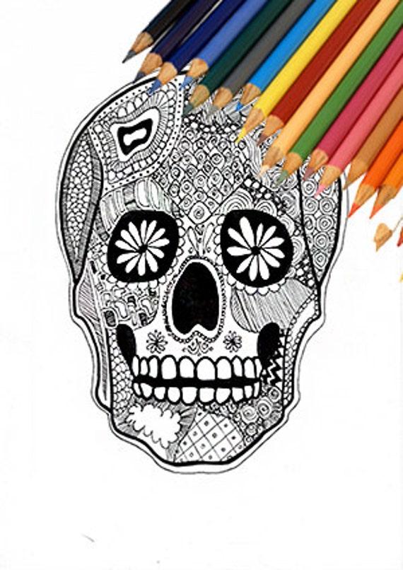 Dernière Minute Halloween Crâne Jour Du Crâne Mort Coloriage Page Coloriage Halloween Conception Dia De Los Muertos