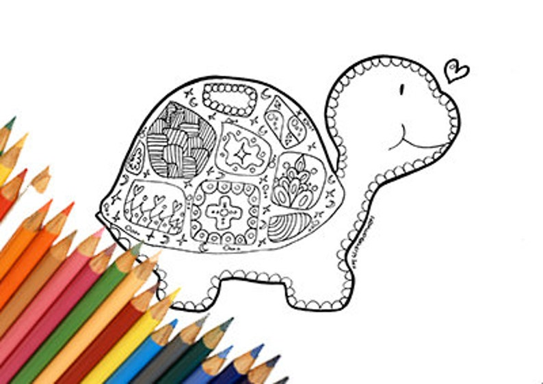 Coloriage Mandala Animaux Tortue.Pages De Tortue Imprimable Coloriage Mandala Zentangle Digital Etsy