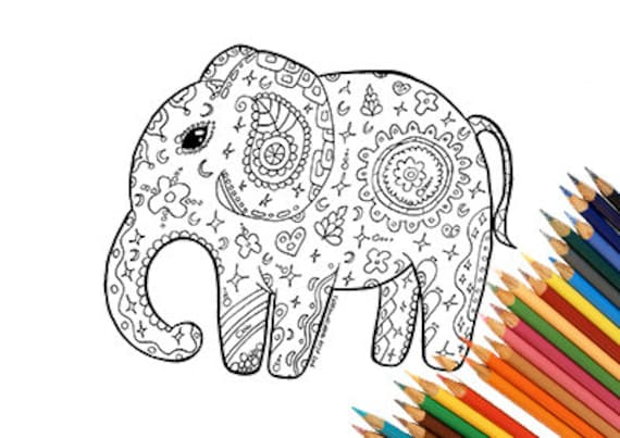 Druckbare Elefant Malvorlagen Mandalas Zentangle Indien Afrika Etsy