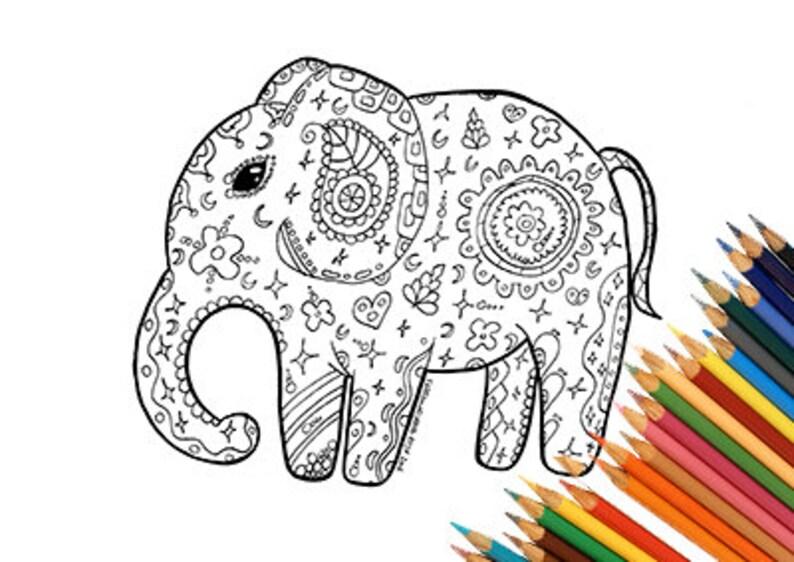 Kleurplaten Over Olifanten.Afdrukbare Olifanten Kleurplaten Mandalas Zentangle India Afrika Dierlijke Print Schattig Tedere Zwarte Marker Coloring Boek Illustratie