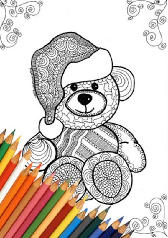 Oso de peluche de Navidad para imprimir para colorear página | Etsy