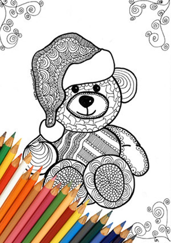 Teddy Bears Coloring Page Printable Zentangle Design Bear Etsy