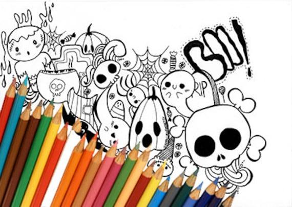 Last Minute Kawaii Doodle Halloween Disegno Da Colorare Etsy