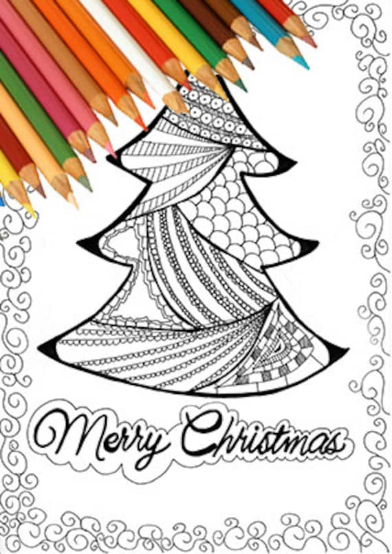 Christmas Tree Coloring Page Printable Zentangle Greeting Card Etsy