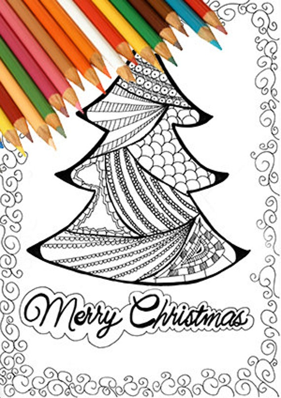 Árbol de Navidad para colorear página imprimible dibujo | Etsy