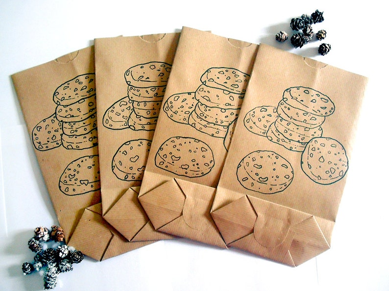 Cookie bags handmade gift hand drawn Christmas gift paper brown gift idea sweets paper bags big doodle cookies candy birthday bag